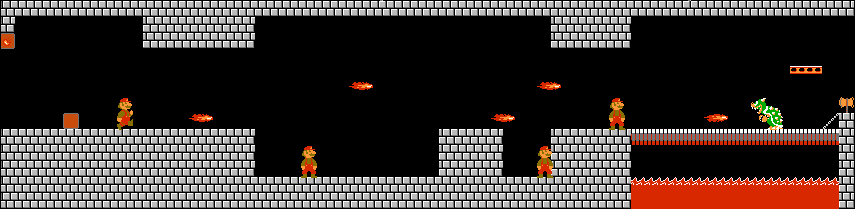 Super Mario Bros. World 1-4: Fireballs approach the player before  dealing with Bowser.